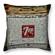 7 Up Vintage Cooler Throw Pillow