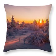Winter Evening Landscape With Forest, Sunset And Cloudy Sky.  Throw Pillow