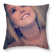 Young Woman Getting Ready To Night Out Throw Pillow