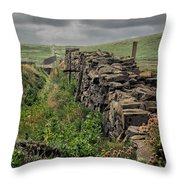 Rock Wall And Field In Ireland 7010199  Throw Pillow