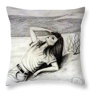 70s Brunette Living Barbie Throw Pillow