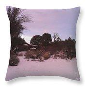 Snowy Desert Landscape Throw Pillow