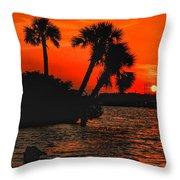 75 Island Sunset Throw Pillow