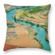 Rice Fields Scenery In Autumn Throw Pillow by Carl Ning