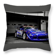 7763 Nissan Tuning Race Cars Blue Cars Selective Coloring Throw Pillow