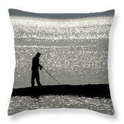 78. One Man And His Rod Throw Pillow