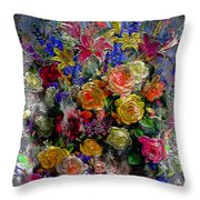7a Abstract Floral Painting Digital Expressionism Throw Pillow