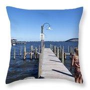 Indian River Lagoon At Eau Gallie In Florida Usa Throw Pillow