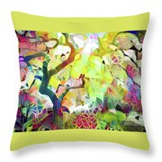8 Abstract Japanese Maple Tree Throw Pillow