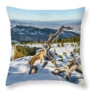 Amazing Winter Landscape With Frozen Snow-covered Trees On Mountains In Sunny Morning  Throw Pillow