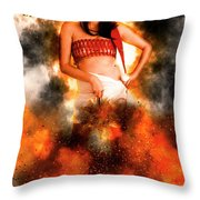 Asian Woman With Santa Hat  Throw Pillow