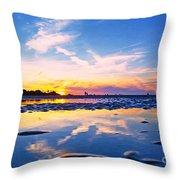 Beach Skyset Sunset On A Perranporth Beach Cornwall Throw Pillow