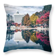 Charlotte North Carolina Cityscape During Autumn Season Throw Pillow