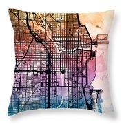 Chicago City Street Map Throw Pillow