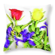 Flower Frame Border Throw Pillow