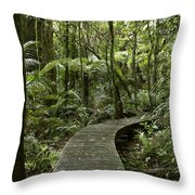 Forest Boardwalk Throw Pillow