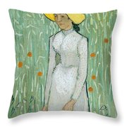 Girl In White Throw Pillow