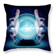 Hands On Crystal Ball And Cryptocurrency Throw Pillow