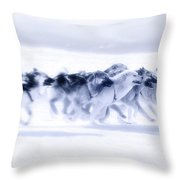 Huskies In Ilulissat, Greenland Throw Pillow