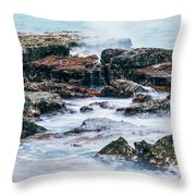 Rocks And Waves At Point Cartwright  Throw Pillow