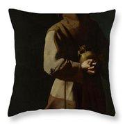 Saint Francis In Meditation Throw Pillow