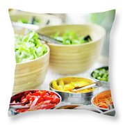 Salad Bar Buffet Fresh Mixed Vegetables Display Throw Pillow