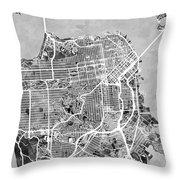 San Francisco City Street Map Throw Pillow