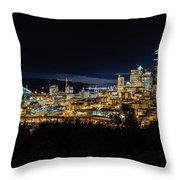 Seattle Skyline At Night Throw Pillow