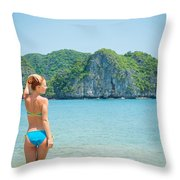 Sexy Woman Relax Throw Pillow