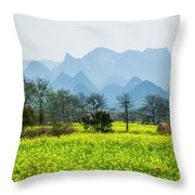 The Rape Flowers Field Scenery Throw Pillow by Carl Ning