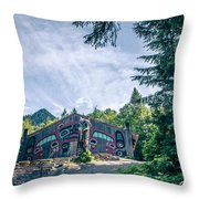 Totems Art And Carvings At Saxman Village In Ketchikan Alaska Throw Pillow
