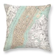 Vintage Map Of New York City  Throw Pillow