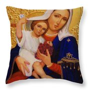 Virgin And Child Painting Religious Art Throw Pillow