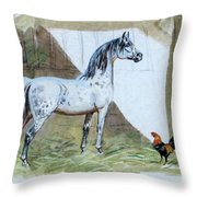 #84 - The Gray And The Rooster Throw Pillow