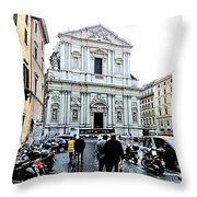 winter in Rome Throw Pillow
