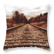 86ed On The Tracks Throw Pillow