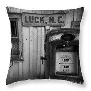 Luck Gas Pump Throw Pillow