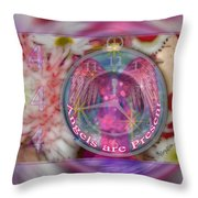 #8913_444 Angels Are Present 2 Throw Pillow