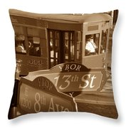 8th Ave Trolley Throw Pillow