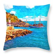 A Digitally Constructed Painting Of Kaleici Harbour In Antalya Turkey Throw Pillow
