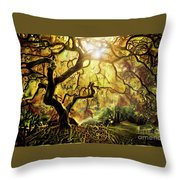 9 Abstract Japanese Maple Tree Throw Pillow