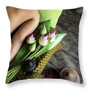 Asian Massage Spa Natural Organic Beauty Treatment Throw Pillow