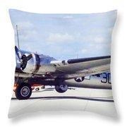 B-17 Bomber Parking Throw Pillow
