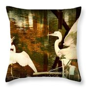 9 Egrets Throw Pillow