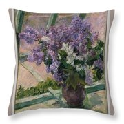 Lilacs In A Window Throw Pillow