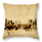 Manchester England Skyline Throw Pillow