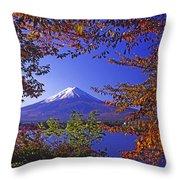 Mount Fuji In Autumn Throw Pillow