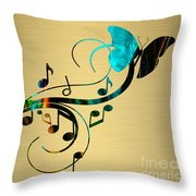 Music Flows Collection Throw Pillow