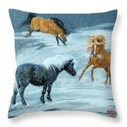 #9 - Ponies In Snow Throw Pillow