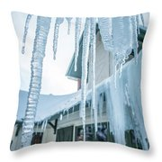 Snowshoe Mountain Village And Restaurants And Shops On A Sunny D Throw Pillow